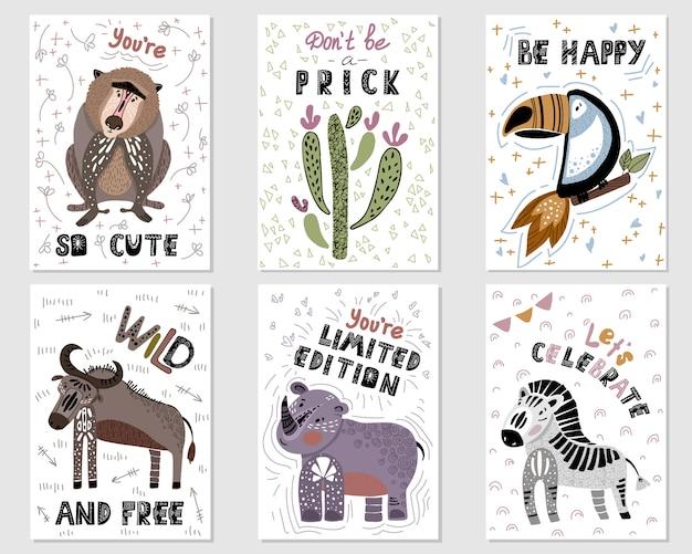 Set vector premade tarjetas con dibujos animados animales africanos