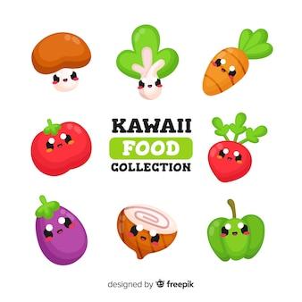 Set de verduras en estilo kawaii