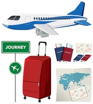 Set de viaje con avión y otros artículos sobre fondo blanco.
