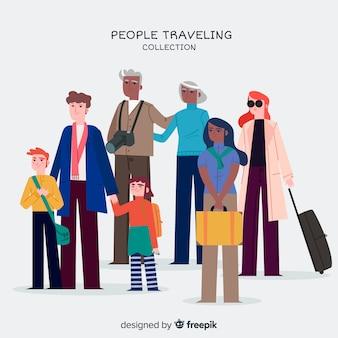 Set viajeros dibujado a mano