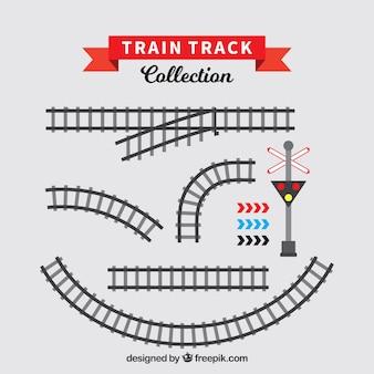 Set de vías de tren en diseño plano