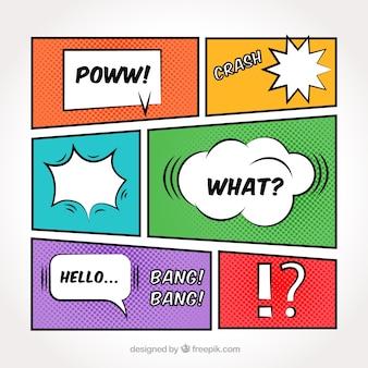 Set de viñetas de colores con globos de diálogo