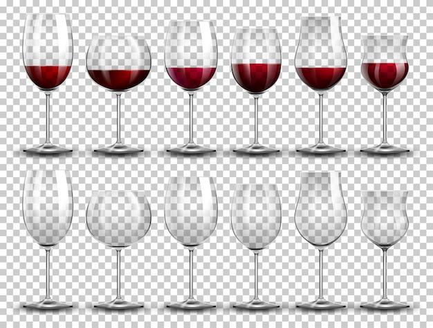 Set de vino en copas diferentes.