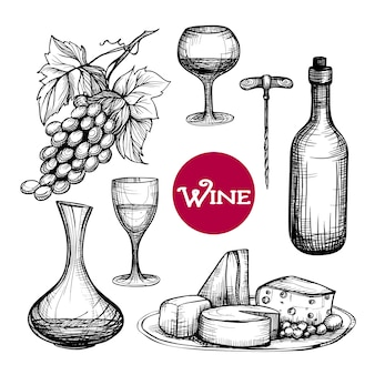 Set de vino dibujado a mano