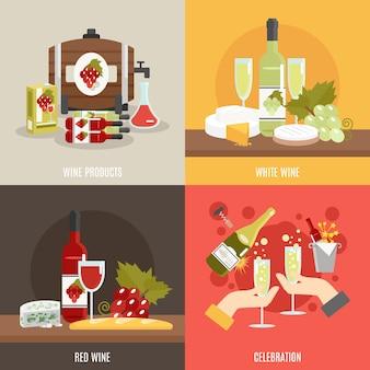 Set de vino plano