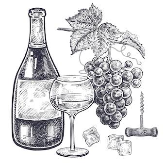 Set de vino y uvas.