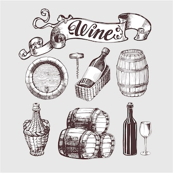Set de vino y vinificación vintage.