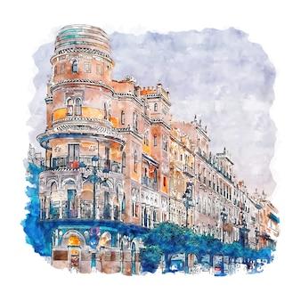 Sevilla españa acuarela dibujo dibujado a mano