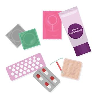 Sexo seguro y control de la natalidad. conjunto de métodos anticonceptivos.