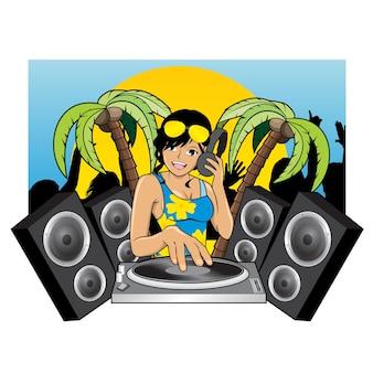 Sexy mujer dj en la fiesta de verano