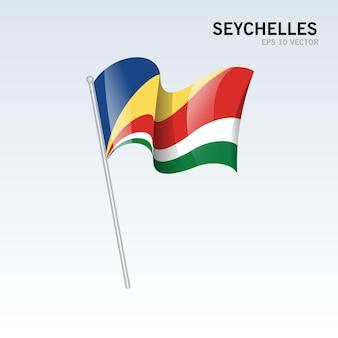 Seychelles ondeando la bandera aislado en gris