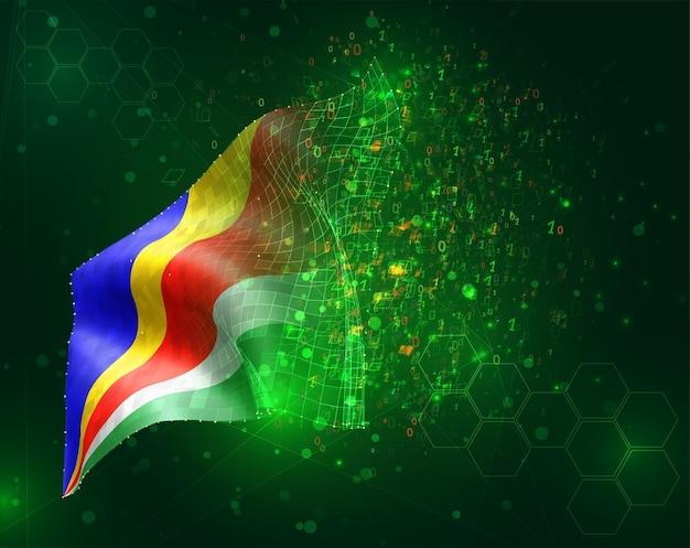 Seychelles, vector bandera 3d sobre fondo verde con polígonos y números de datos