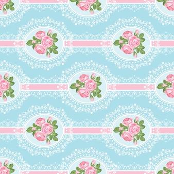 Shabby chic rosa de patrones sin fisuras sobre fondo azul