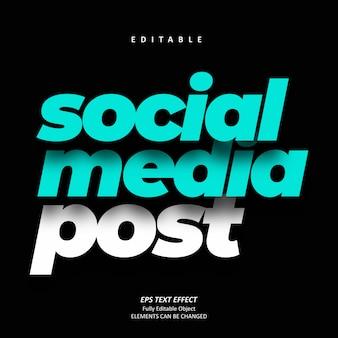 Shadow social media efecto de texto azul editable premium