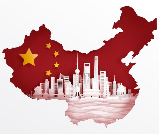 Shangai, bandera de china con monumentos famosos del mundo en papel, ilustración vectorial estilo de corte