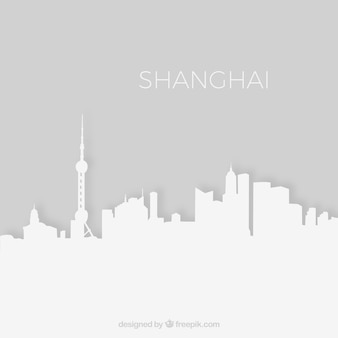 Shanghai horizonte la silueta