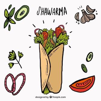 Shawarma bocetos con los ingredientes