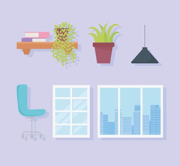 Shef de la silla del lugar de trabajo de oficina con los iconos de la lámpara y de las ventanas de la planta de los libros.