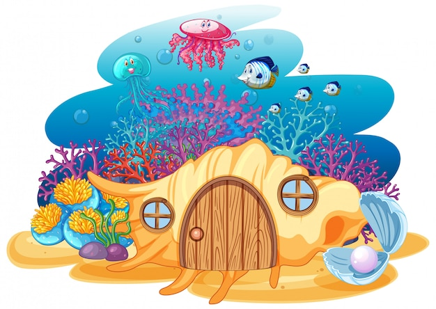 Shell house y sealife en estilo de dibujos animados bajo el agua sobre fondo blanco.