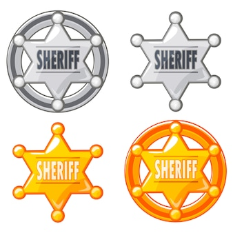 Sheriff marshal star medalla de oro y plata
