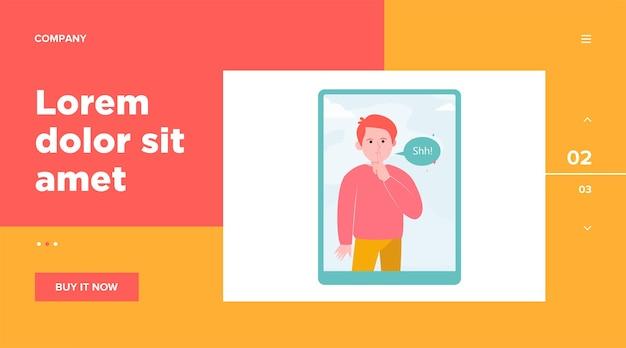 Shh hombre en la pantalla de la tableta. dedo, silencio, bocadillo. concepto de comunicación y mensaje para el diseño de sitios web o páginas web de destino