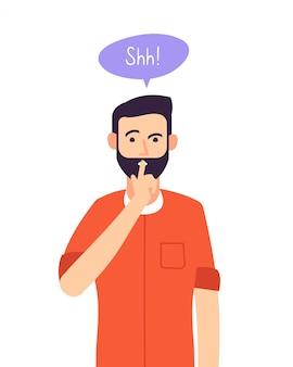 Shh hombre. secreto comercial, hombre serio con gesto de silencio en la boca cerrada. silencio, por favor, calla el concepto