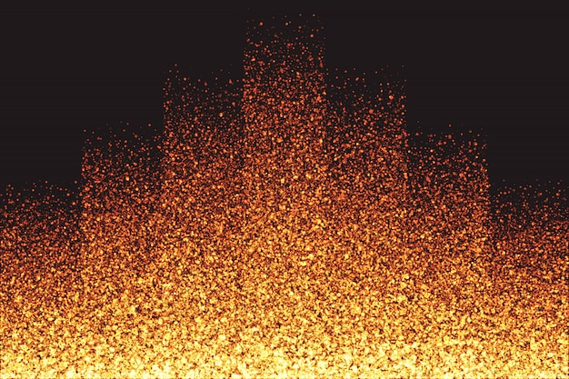 Shimmer glowing golden particles vector de fondo