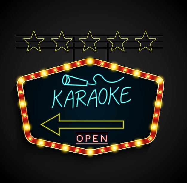 Shining retro light banner karaoke en un fondo negro