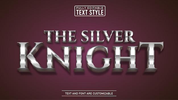Shiny silver metallic game y título de película efecto de texto editable
