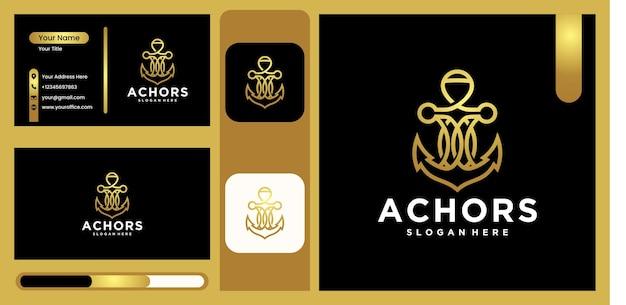 Ship anchor logo, vector illustration anchor design for sailor logo design logo for marine with luxury and trendy gold color