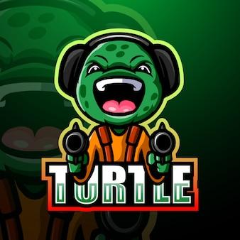 Shooter tortuga mascota esport ilustración
