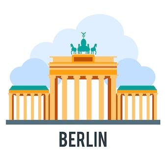Showplace ilustración con todos los edificios famosos. banner lineal.