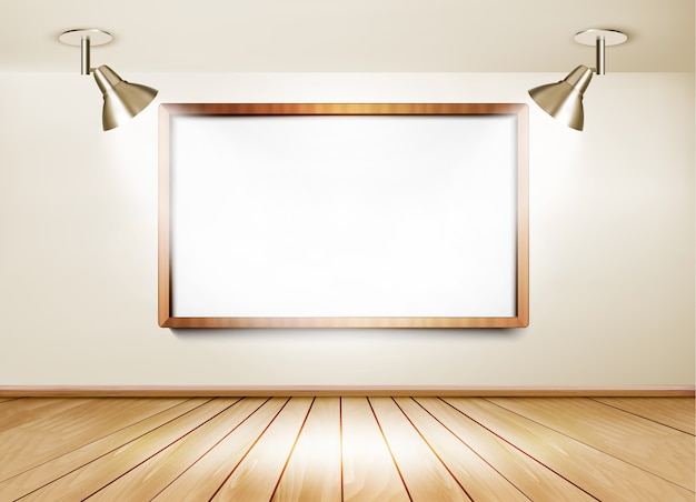 Showroom con piso de madera, pizarra blanca y dos luces.