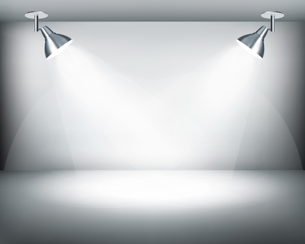 Showroom retro en blanco y negro con dos luces.