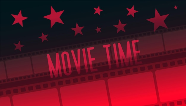 Showtime movie time tira de película fondo rojo