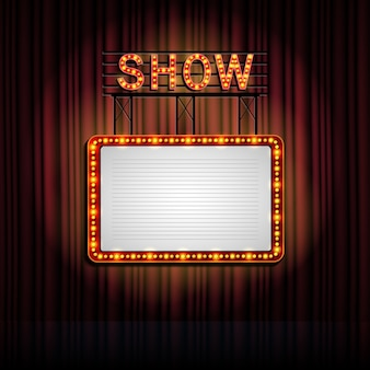 Showtime retro signo con fondo de cortina