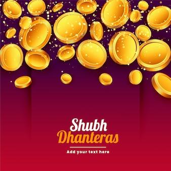 Shubh dhanteras cayendo tarjeta de festival de monedas de oro
