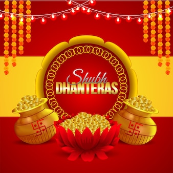 Shubh dhanteras con flor de merigold y creativa olla de monedas de oro