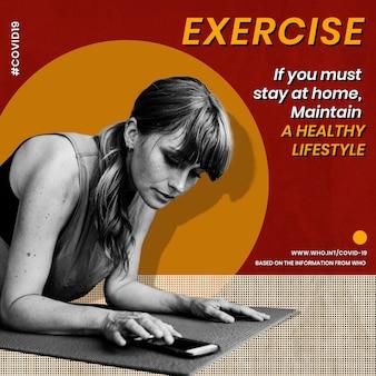 Si debe quedarse en casa, mantenga una plantilla de estilo de vida saludable fuente oms vector