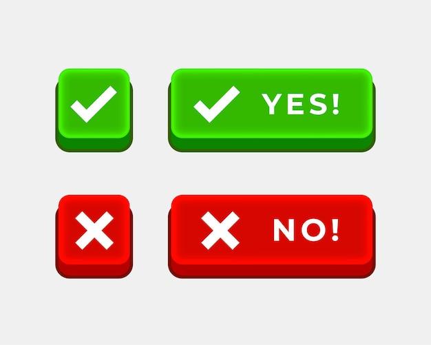 Sí marca de verificación y sin botones cruzados