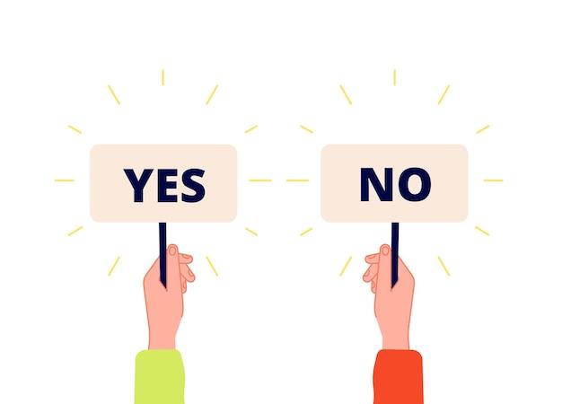Sí, no banner. elección, iconos de voto. mano de empresario sosteniendo placas con signo positivo y negativo. seleccione verdadero o falso