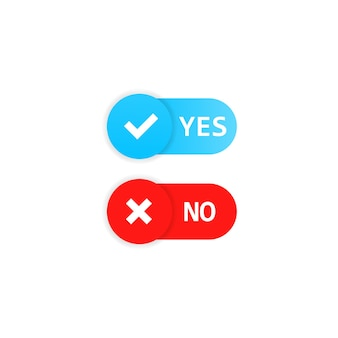 Sí y no botón. signo de aceptación y rechazo. vector sobre fondo blanco aislado. eps 10.