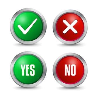 Sí y no icono de marcas de verificación
