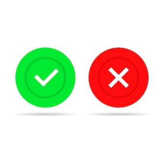 Sí y no ilustración de marcas de verificación