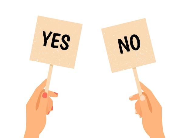 Sí y no pancartas. haz tu elección. manos sosteniendo dos carteles para subasta
