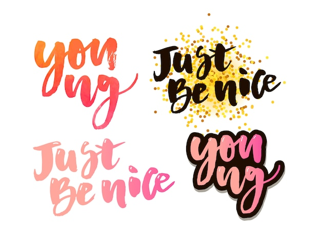 Por siempre joven, cita de letras de motivación. caligrafía de tinta moderna para tipografía tarjeta de felicitación