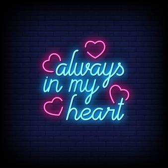 Siempre en mi corazón letreros de neón estilo texto
