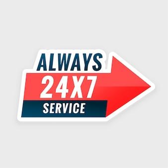 Siempre servicio todos los días fondo con flecha