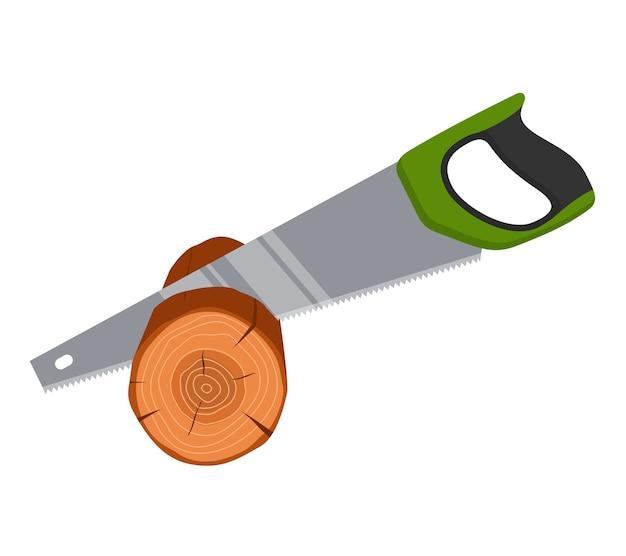 Sierra de mano aserrar madera árbol aislado. herramientas de carpintero, reparadores.