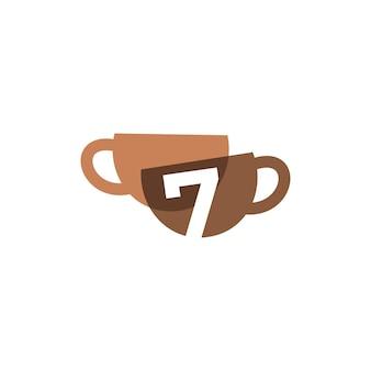 Siete 7 números taza de café superpuesta color logo vector icono ilustración